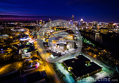 stock image of aerial cityscape timelapse night life austin texas capital cities glowing busy at night