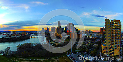 stock image of aerial skyline sunset tall condo foreground austin texas capital cities glowing busy at night