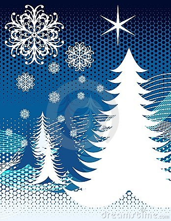 Blue Snow Christmas Trees