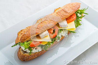 Long sandwich with tofu, cheese, tomatoes and lettuce. Isolated on white background, product photography for restaurant