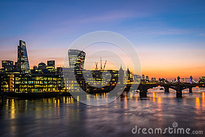 Modern London, morning photo with offices by the river Thames