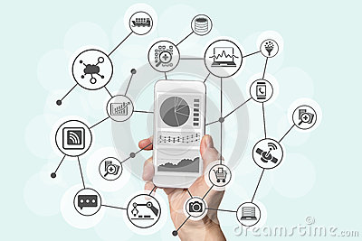 Predictive analytics and big data concept with hand holding modern smart phone to analyze data from marketing, shopping