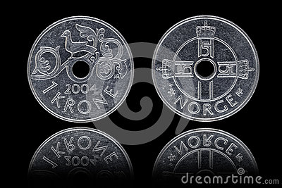 Obverse and reverse of one Norwegian krone coin