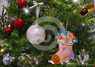 Christmas tree decoration with balls and bear cartoon
