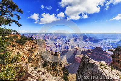 View of Grand Canyon from rim trail