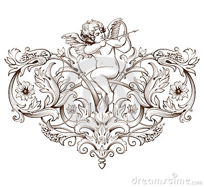 Vintage decorative element engraving with Baroque ornament pattern and cupid
