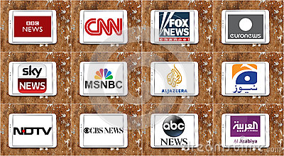 Logos of top famous tv news channels and networks