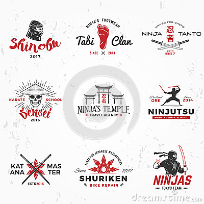 Set of Japanese Ninjas Logo. Katana master insignia design. Vintage ninja mascot badge. Martial art Team t-shirt