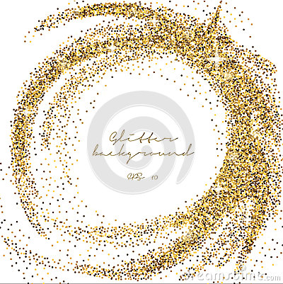 Gold glitter sparkling template. Decorative shimmer background. Shiny glam abstract texture. Sparkle golden confetti backdrop. Lux