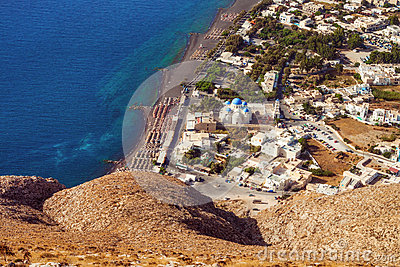 Perissa village, Santorini, as seen from the Ancient Thera ruins