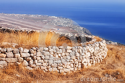 Ancient Thera ruins overlooking Santorini airport