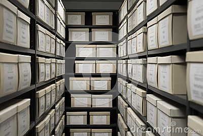 Archive evidence police depository cardboard box black shelves with white office boxes card