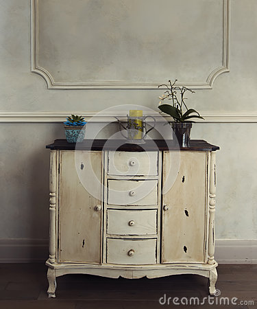 Оld antique wooden painted chest