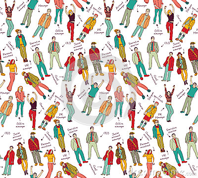 Business company team people with post color seamless pattern.
