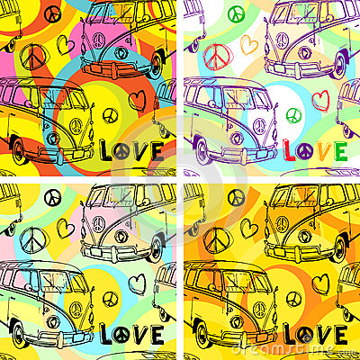 Watercolor hand-drawn old-fashioned hippy bus vector background