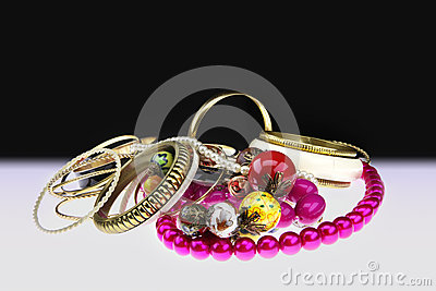 Golden bracelets and beads