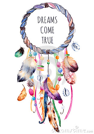 Ethnic illustration with native American Indian watercolor dreamcatcher.