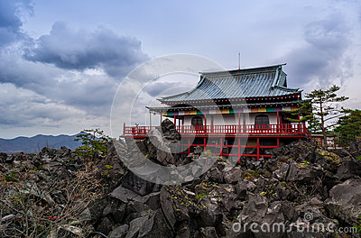 Japanese Temple on a rocky mountain