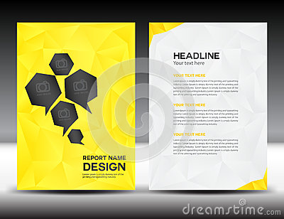 Yellow Cover Annual report template,polygon background,brochure design,cover template,flyer design,portfolio
