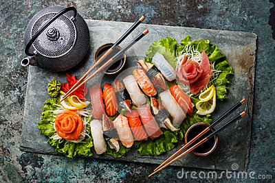 Sushi Set nigiri and sashimi with tea