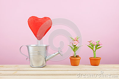 The red foiled chocolate heart stick with small silver watering can and mini fake flower in brown plant pot on wooden tray
