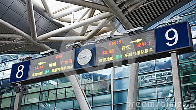 High speed railway station signs and directions, China