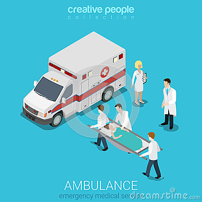 Flat 3d isometric vector ambulance emergency patient medical