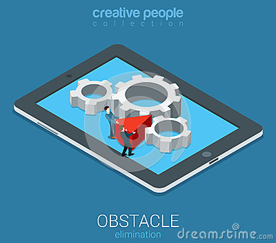 Technolofy business obstacle elimination flat 3d vector isometric