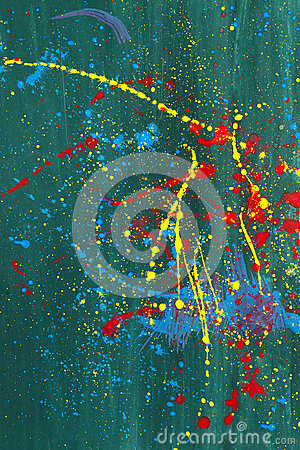 Abstract colorful art painting made of irregular paint drops