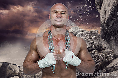 Composite image of portrait of confident bodybuilder holding chain around neck