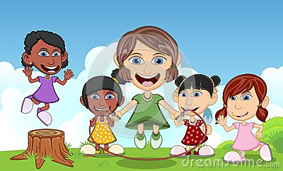 Children playing jump rope, eat ice cream and waving hand in the park, cartoon vector illustration