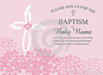 Christening, Baptism, Communion, or Confirmation Invitation Template with Cross and Floral Accents