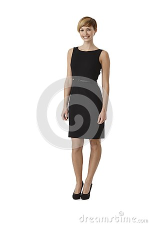 Attractive woman wearing black cocktail dress