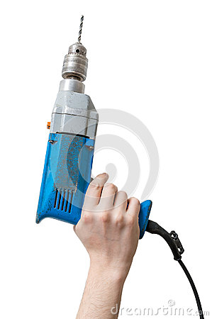 Caucasians man's hand holds drill. Maintenance concept