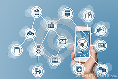 Mobile computing in the cloud with hand holding modern smart phone with touch screen