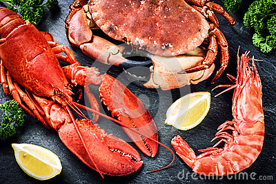 Fine selection of crustacean for dinner. Lobster, crab and jumbo