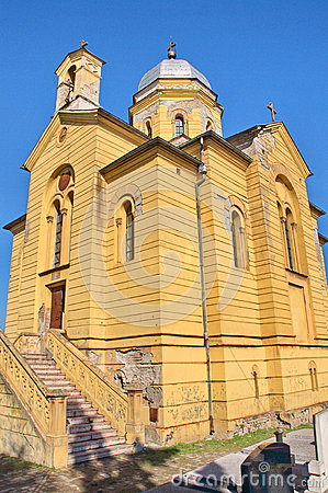 Old yellow Neo Romanticism church at Gardos, Zemun