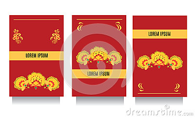 Decorative templates for invitations, greeting, visit cards and vouchers at khokhloma floral  style with red background