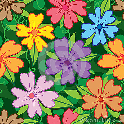 Flower five petal colorful seamless pattern