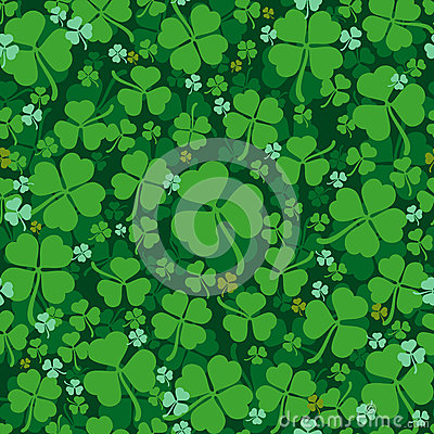 Green leaves clover seamless pattern. Lucky Clover leaf. Four-leaf and trifoliate clover