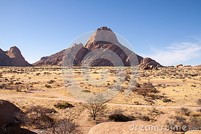 Looking Over Namib Desert with Spitzkoppe Mountain, Namibia