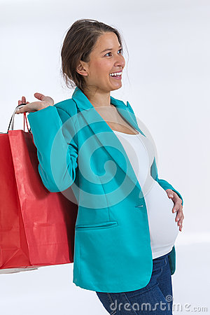 Pregnant woman out shopping