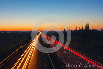 Motorway at night with beuatiful light trails