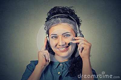 Happy smiling support phone operator in headset