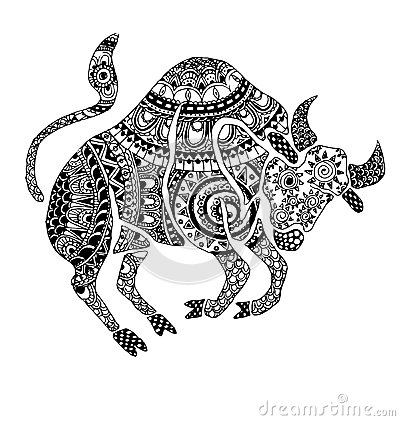 The taurus sign horoscope  ethnic style outline