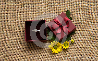 Engagement ring in gift box with daisy
