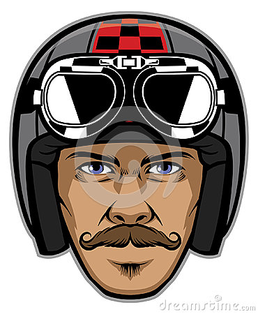 Motorcycle rider with mustache and wearing vintage helmet