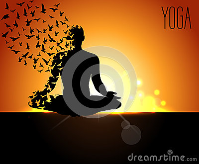 Silhouettes In The Yoga Poses On A Early Morning Background World Day Design Templates For