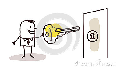 Businessman with key and door