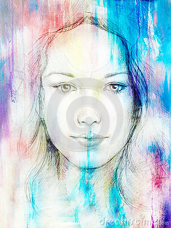 Drawing portrait Young woman with ornament on face, color painting on abstract background, computer collage. Eye contact